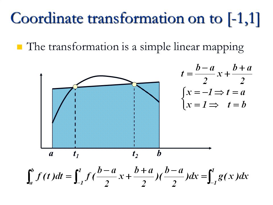 Coordinate transformation on to [-1,1]